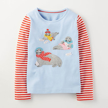 Girls Full Sleeve Shirt Baby Girl Clothes 2017 Spring Brand Baby White Blouse to School Character Girls Tops Tees Children
