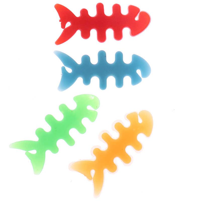 10 個高品質の魚骨ヘッドホンイヤホンコード線ゴムケーブルワインダーホルダーデータケーブルオーガナイザー