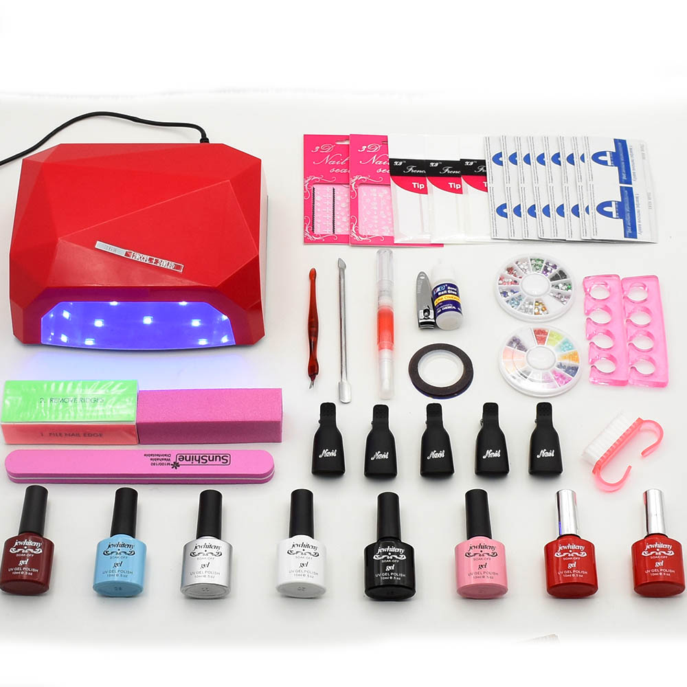 Nail set Soak-off Gel nail polish Top & Base Coat gel varnishes set UV LED nail lamp 6 colors nail art tools kits manicure nail art tools manicure set 10ml soak off uv gel polish lacquer 36w led lamp base top coat nail tips sticker nail tools kit