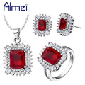 Almei New Jewelry Sets 925 Silver Rhinestone Necklace And Earrings Pendant Rings for Women Bridal Wedding Jewellery Set T546