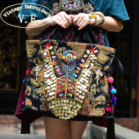 NEW Original Ethnic Style Exotic Gold Embroidery Elephant Shoulder Bags Vintage Pure Handmade Beaded Pompon Women