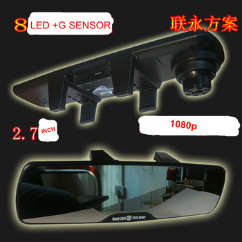 mirror DVR  2.7' 1080p camera recorder DVR G sensor cycle record  with AV out . TF Card .USB slot +6camera 2inside 4 outside