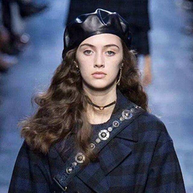 Новинка 2018, Модный осенне-зимний черный топ quatilly, натуральный кожаный берет, женская шапка из овечьей кожи, Женский французский мужской брендовый берет