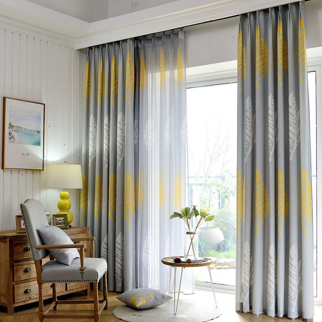 Modern Gray Yellow Tulle Floor Cloth Fabric Curtains For Living Room Bay Window