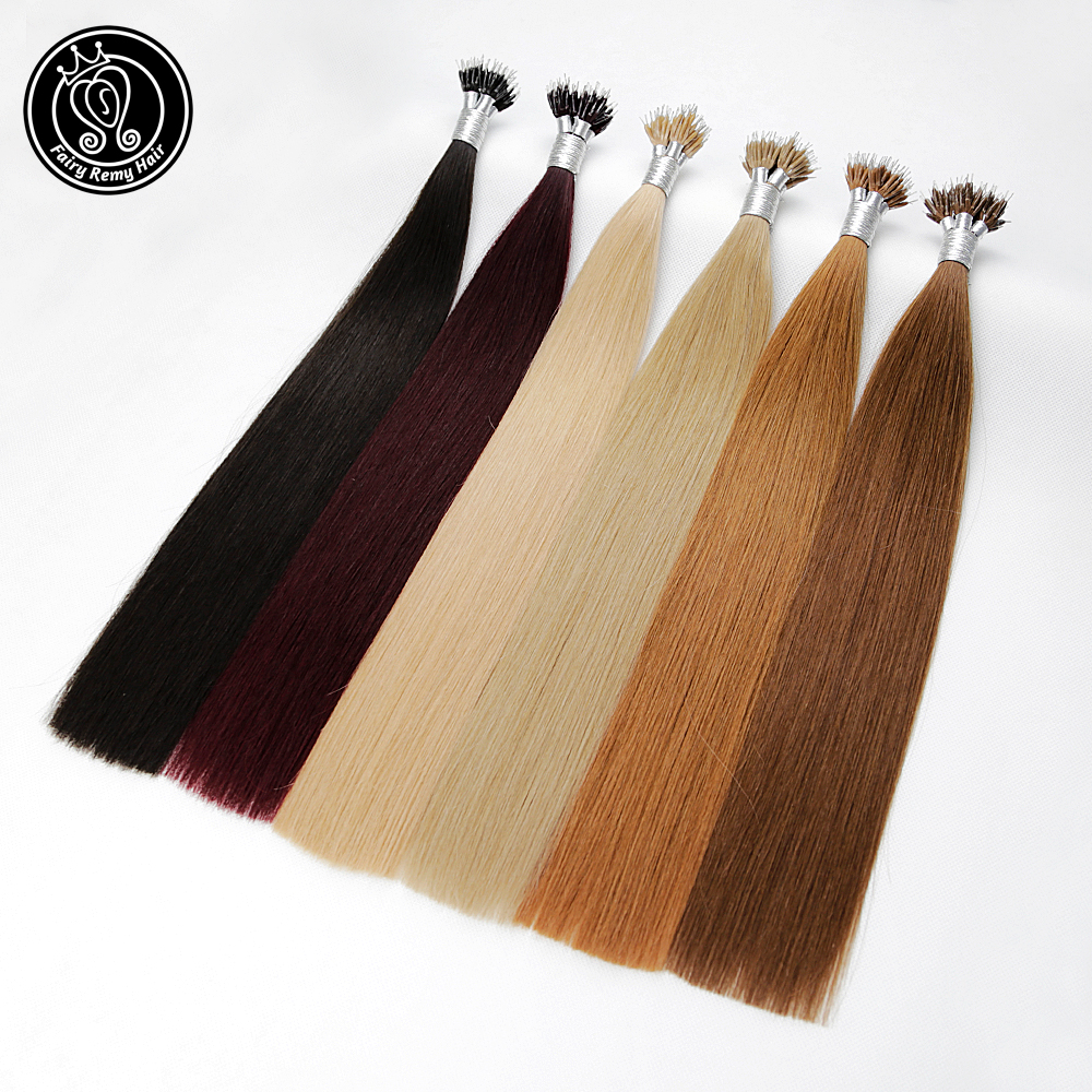 Nano Tip Rings Pre Bonded Human Hair Extensions Real Remy European Straight Micro Beads Hair Pure Color 1g/s 22 Inch 50g/pack
