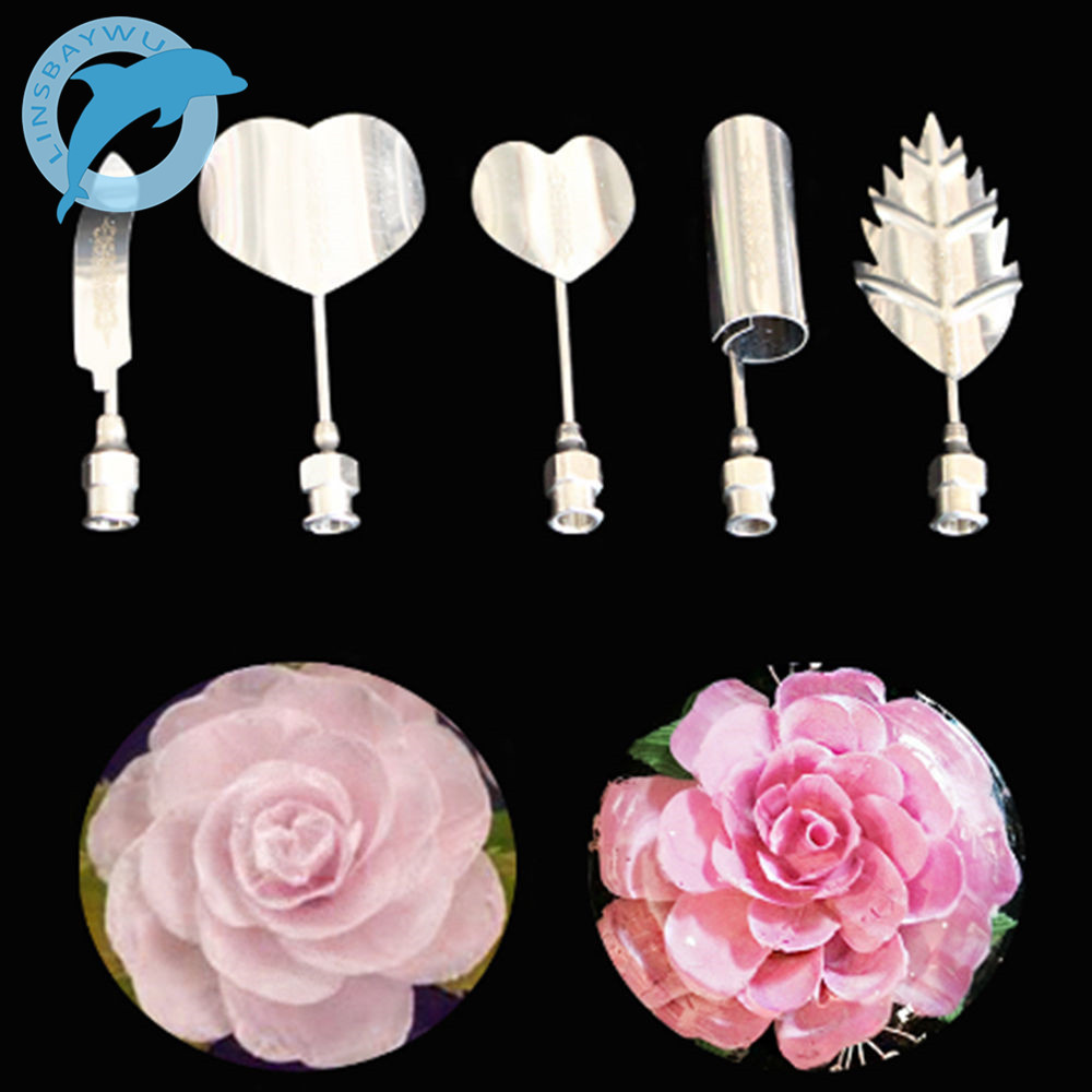LINSBAYWU 5PC/SET Flower 3D Jello Jelly Art Needle Tools Jelly Cake Gelatin Pudding Nozzle