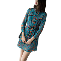 100% Real Silk Dress Female 2018 High Quality Spring Vintage A line Women Printing Dresses Bohemian Style Slim Was Thin Dress
