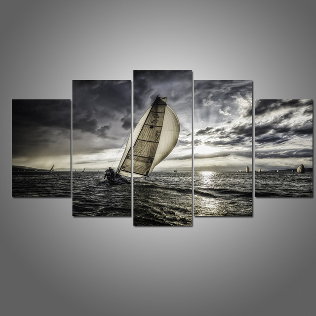 Black And White Sailboat Canvas Wall Art Painting Modern Hd Seascape Poster Picture Nautical Artwork For