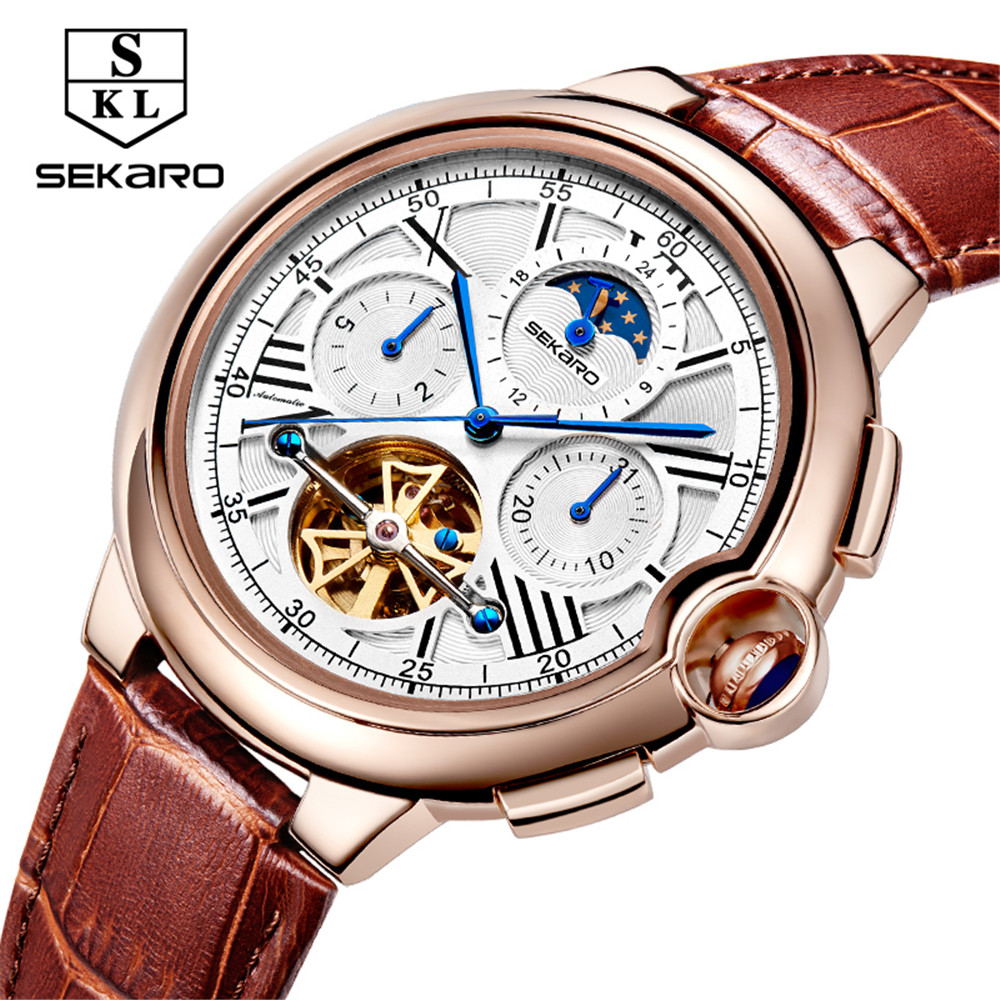 Men Watches Luxury Top Brand SEKARO Sport Mechanical Watch Gold Clock Men Tourbillon Automatic Wristwatch With Moon Phase luxury brand automatic tourbillon watch calendar date day display gold case male clock sport mechanical tag hour watches men