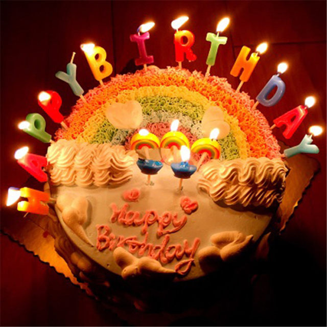 Online Shop 13pcs Happy Birthday Candle Letters Cake Candles