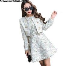 2020 New Autumn Runway Tweed 2 Piece Set Dress Designer Winter Women White Short Jacket Coat + Mini Tank Tassel Wool Blend Suits