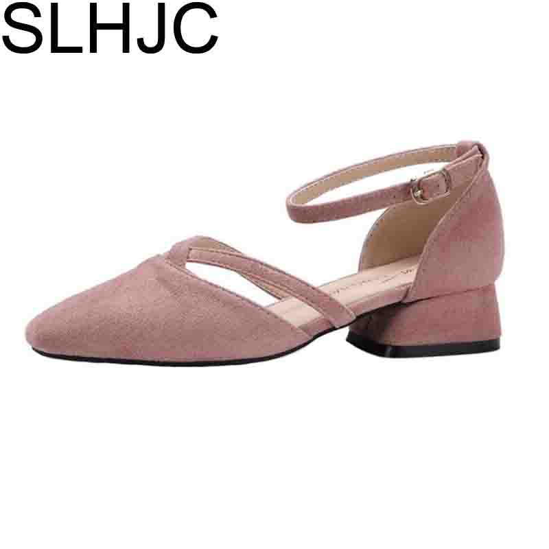 SLHJC Women Autumn Spring Pumps Low Heels Square Toe Casual Ankle Buckle Cross Straped Shoes Square Heel Pumps 3 CM Heel xexy small square toe medium heels natural leather women shoe spring autumn buckle strap dance party sweet platform women pumps