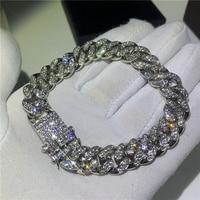 Hip Hop Fashion Iced Out Fashion Bracelets High Gold Cuban Link Chain Miami Bracelet Hip Hop Jewelry