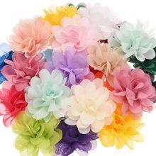 20 шт. шифоновые цветы бутик аксессуары для волос DIY цветок головной убор модный аксессуар для волос Цветы без заколки для волос для повязки на голову