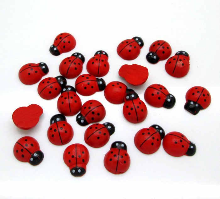 100 pçs 12x15mm besouros de madeira vermelho decoração artesanato flatback contas cabochão scrapbook diy enfeites acessórios botões