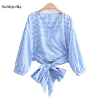 SheMujerSky Blue Plaid Women Shirts Straps Decoration Blouses Long Sleeve Women Tops Body Mujer