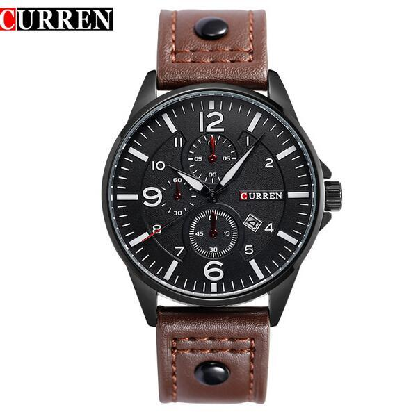 New Fashion CURREN Brand Men Watches Men Casual Quartz Watch Men Brown Leather Strap Black Dial Waterproof Sports Wristwatches