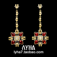 famous brand European retro red baroque palace catwalk long flower sun Royal palace retro party earrings female girlfriend gift