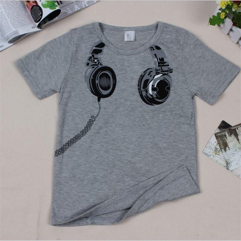faacb1d82d010 US $2.83 51% OFF|New 2018 children t shirts, Headphone Design T shirt Boys  Kids Short Sleeve Tops T shirt cotton Tees-in T-Shirts from Mother & Kids  ...