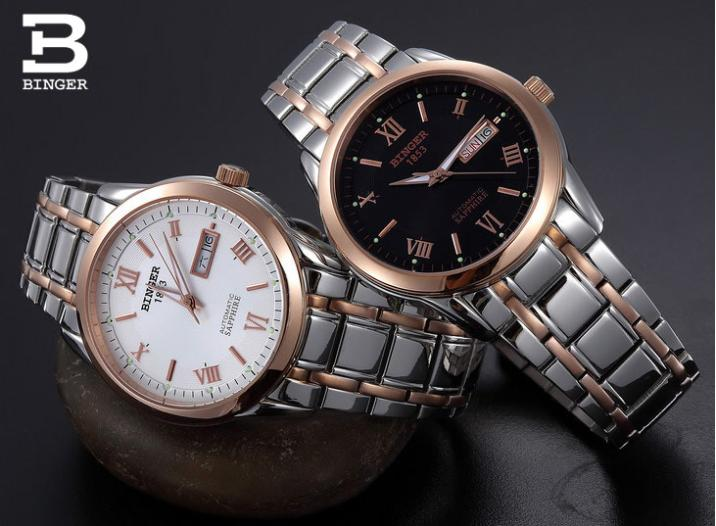 Wristwatches Luxury brand Mechanical Wristwatches sapphire full stainless steel watches men 12-month Guarantee BG-0383 wristwatches luxury brand men quartz gold watch sapphire leather strap watches men 12 month guarantee bg0389