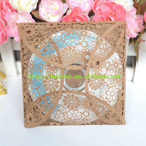 50pcs/lot Wedding Invitaitons Laser Cut, Kraft Paper Invitations, CD/DVD  Paper