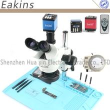 Профессиональный Simul-Focal Тринокулярный Стерео микроскоп 3.5X-90X вертикальный зум+ 14MP HDMI/VGA микроскоп камера для пайки печатных плат