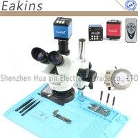 Professional Simul Focal Trinocular Stereo Microscope 3.5X 90X Vertical Zoom+14MP HDMI/VGA Microscope Camera for PCB Soldering
