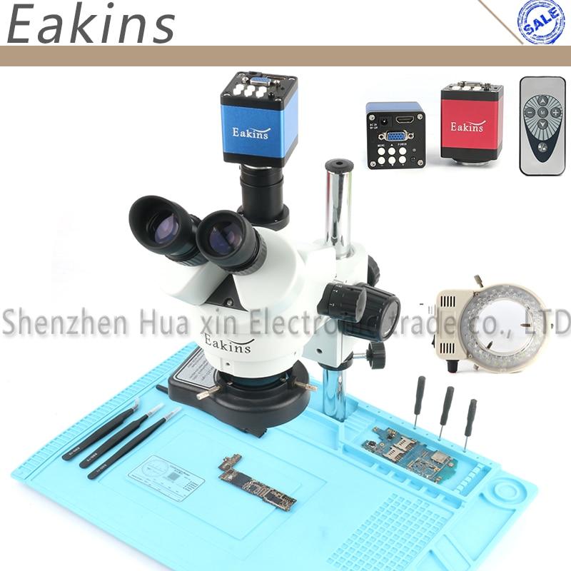 Professionale Simul-Focale Trinoculare Stereo Microscopio 3.5X-90X Verticale Zoom + 14MP HDMI/VGA Microscopio Della Macchina Fotografica per PCB Saldatura