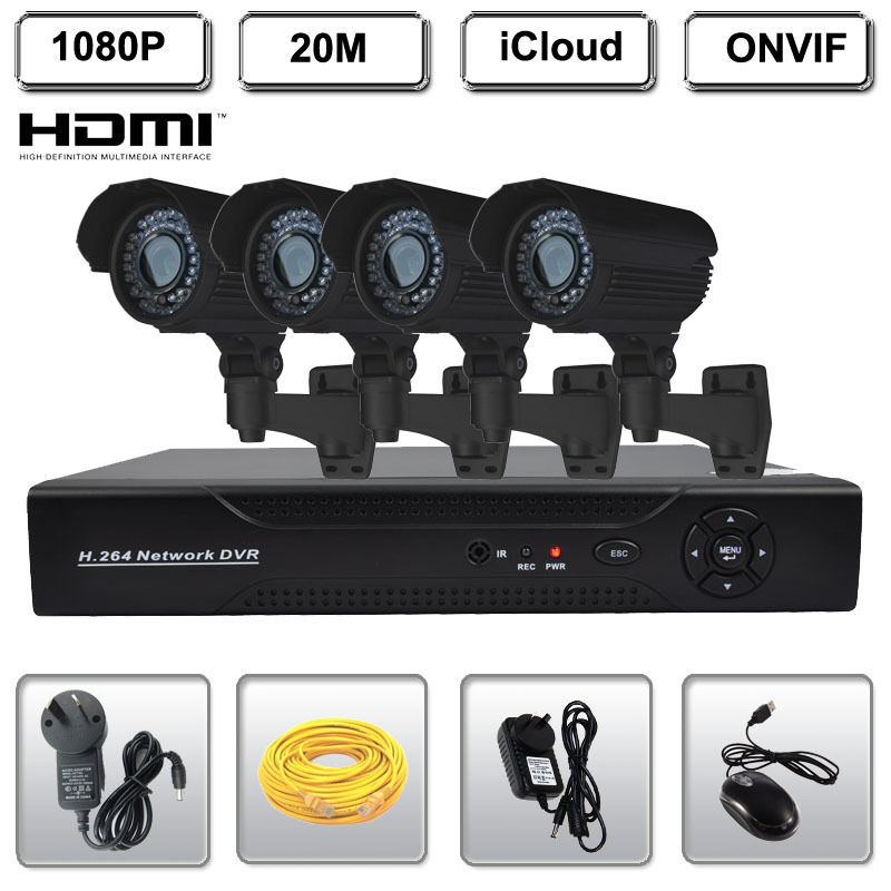 4CH Network HDMI NVR Security System 1080P HD IR CCTV Security IP Bullet Camera