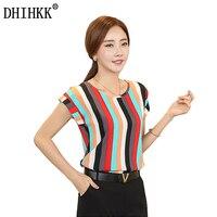 2017 Summer Striped Print Chiffon Blouse O Neck Shirts Petal Short Sleeve Chiffon Tops Plus Size