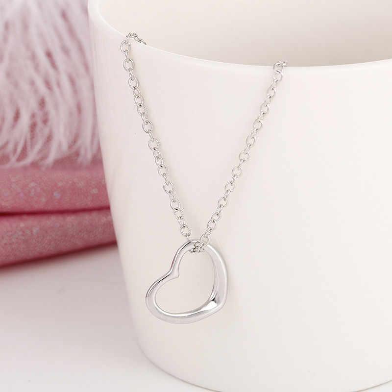 Thời trang tim vòng cổ mặt dây chuyền đơn giản rỗng sliver cho phụ nữ dài chuỗi Vòng Cổ Quà Tặng Bohemian Choker Vòng Cổ trang sức x2