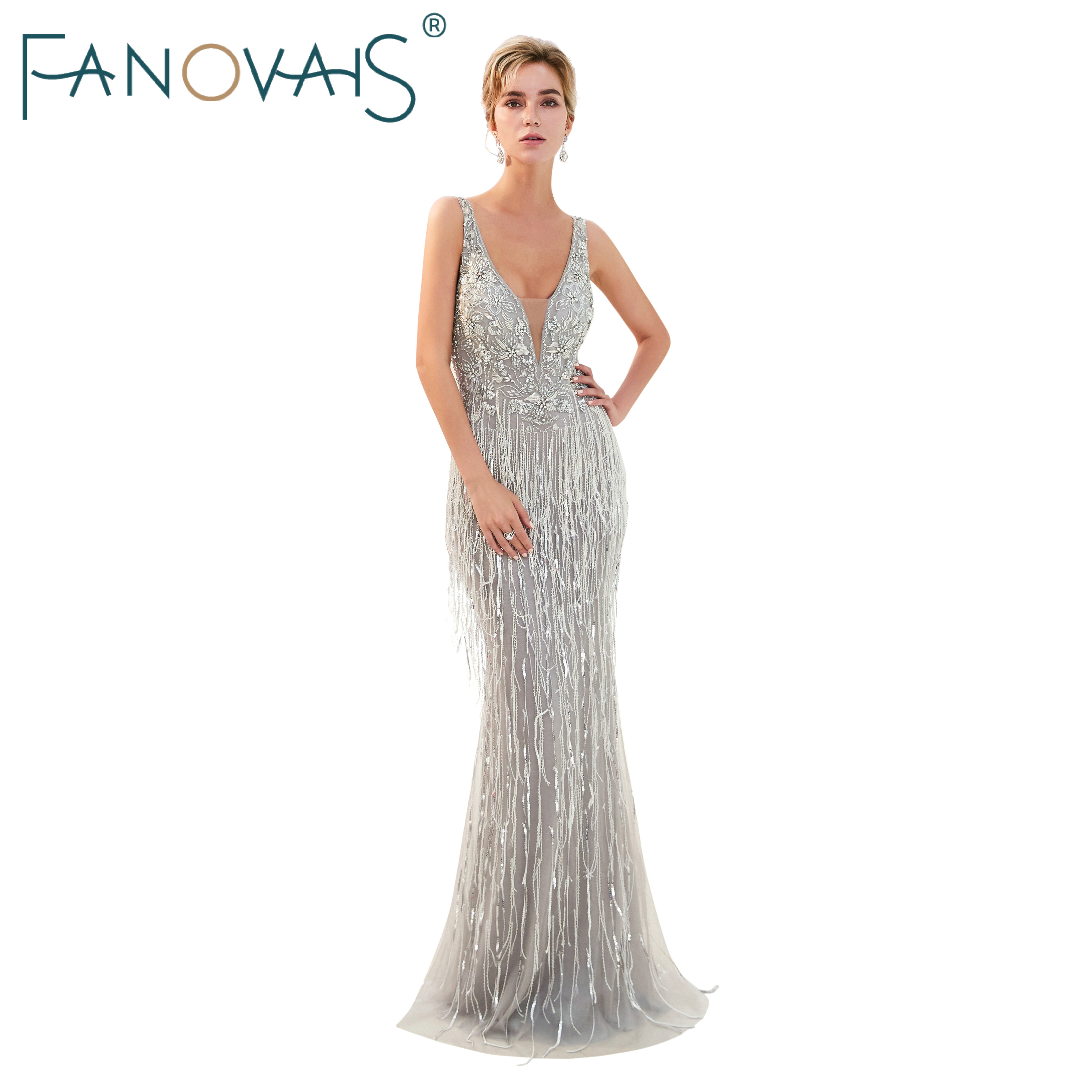Gray Evening Dresses with Tassels Deep V Neck Formal Party Gowns ...