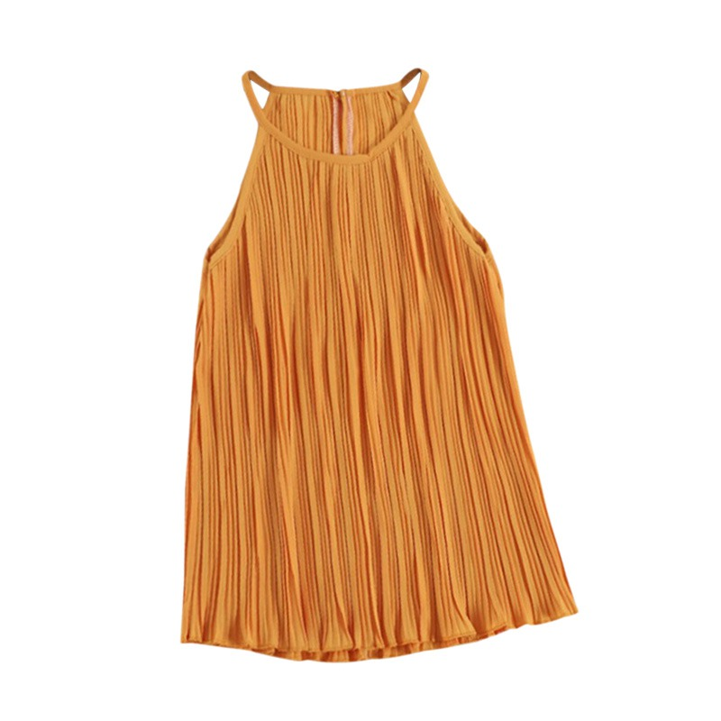 2020 Pleated Halter Top Sling Casual Women's Clothing Summer Multicolor Chiffon Sleeveless Top