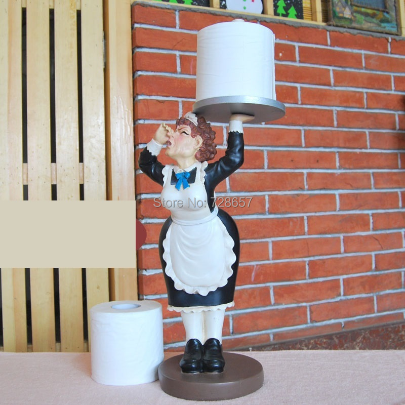 Creative Resin Servant Sculpture Toilet Paper Dispenser Decor Craft Embellishment Accessories Supplies Furnishing for Wash Room