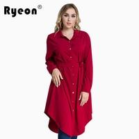 Ryeon Plus Size Shirt Dress Autumn Winter Women Dress Big Size Black Red Green Blue Long