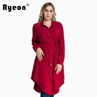 Ryeon Plus Size Shirt Dress Autumn Winter Women Dress Big Size Black Red Green Blue Long