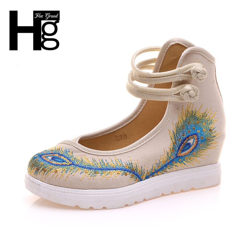 HEE GRAND Chinese Style Women Loafers Platform Height Increasing Embroidery Canvas Ankle High Women's Shoes Size 41 XWD6066 a three dimensional embroidery of flowers trees and fruits chinese embroidery handmade art design book