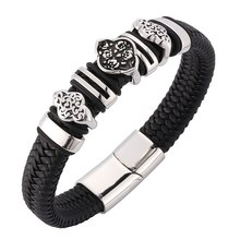 Men Black Leather Bracelet Stainless Steel Accessories Charm Bracelets With Strong Magnet Clasp Punk Male Wrist Band Gift BB0106(China)
