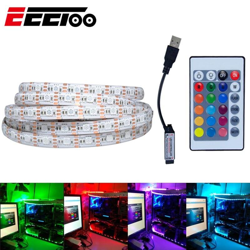 DC 5V RGB 5050 LED Strip With 24 Keys Controller Kit 50cm 100cm 200cm USB Led Tape Flexible LED Light RGB Lamp For PC TV Car