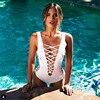 New Arrived 2016 Fashion Women One Piece Swimsuit Bathing Suit Deep V Neck Bandage Swimwear Hollow