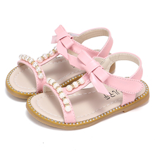 COZULMA Girls Summer Sandals Kids Shoes for Beach Flip Flops Children Princess Pearl Beading With Bow
