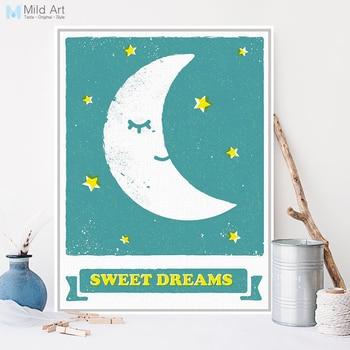 Tatlı Rüyalar Mavi Modern A3 Poster Baskı Sakin Karikatür Ay Yıldız