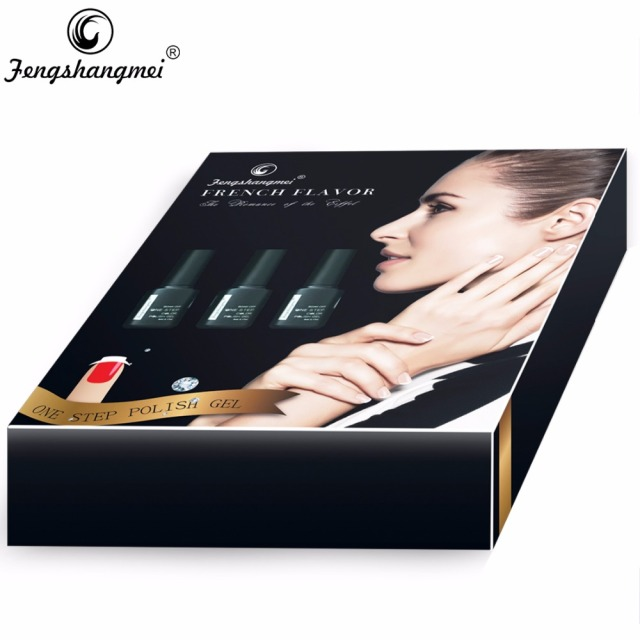 Fengshangmei French Manicure Nail Gel Polish Kit With led Lamp