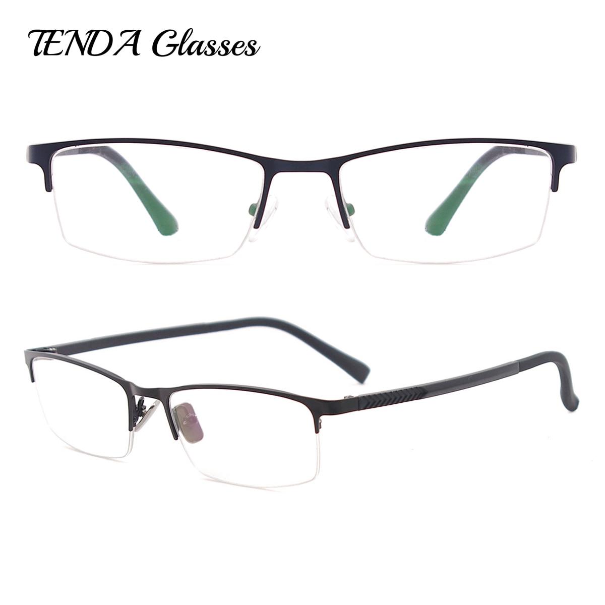Metal Half Rim Spectacles Men Classic Eyeglass Frame For Myopia & Reading Prescription Lenses