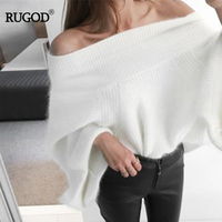 RUGOD 2017 Sexy Off Shoulder Knitted Sweater Women Solid Loose Flare Sleeve Pullover Jumpers Female Mink