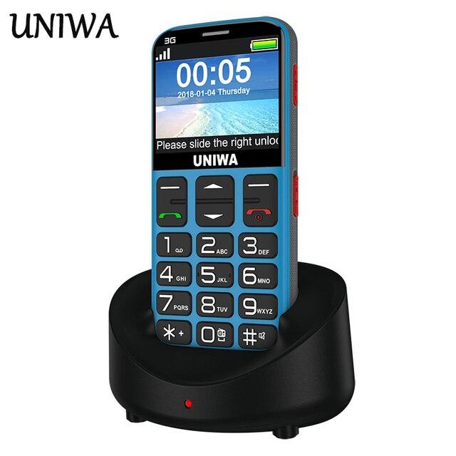 Uniwa V808G رجل يبلغ من العمر الهاتف المحمول 3G SOS زر 1400mAh 2.31 ثلاثية الأبعاد شاشة منحنية الهاتف المحمول مصباح يدوي الشعلة هاتف محمول لكبار السن