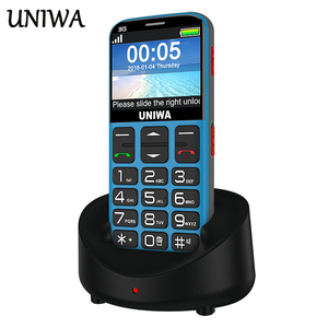 Image 1 - Uniwa V808G Old Man Mobile Phone 3G SOS Button 1400mAh 2.31 3D Curved Screen Cellphone Flashlight Torch Cell Phone For Elderly