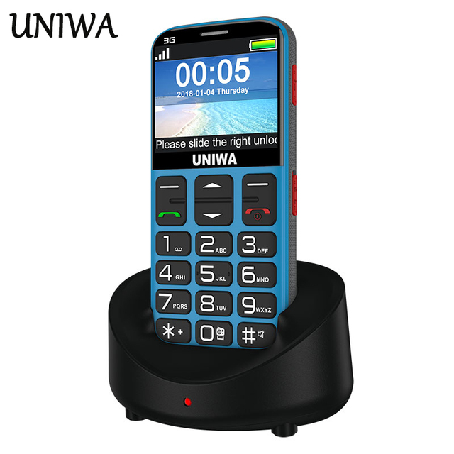 Uniwa V808G Old Man Mobile Phone 3G SOS Button 1400mAh 2.31 3D Curved Screen Cellphone Flashlight Torch Cell Phone For Elderly