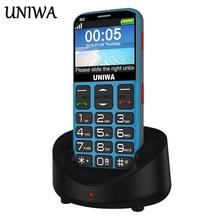 Uniwa V808G Oude Man Mobiele Telefoon 3G SOS Knop 1400mAh 2.31 3D Gebogen Scherm Mobiel Zaklamp Torch Mobiele telefoon Voor Ouderen