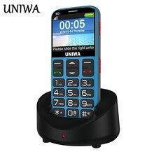 Uniwa V808G stary człowiek telefon komórkowy 3G przycisk sos 1400mAh 2.31 3D zakrzywiony ekran telefon komórkowy latarka latarka telefon komórkowy dla osób starszych